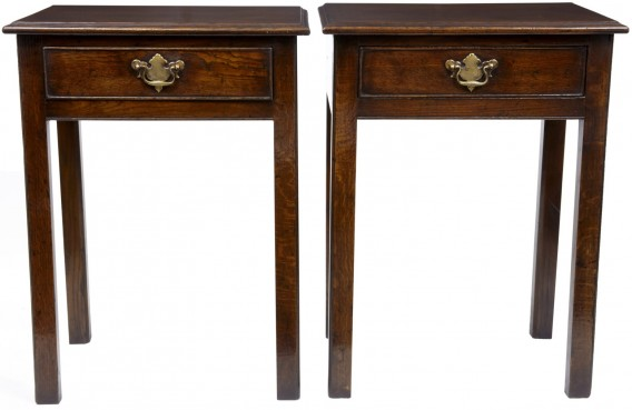 Pair oak side table